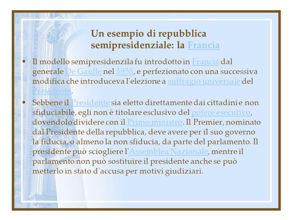 Un esempio di repubblica semipresidenziale: la FranciaFrancia Il modello semipresidenzila fu introdotto in Francia dal generale De Gaulle nel 1958, e