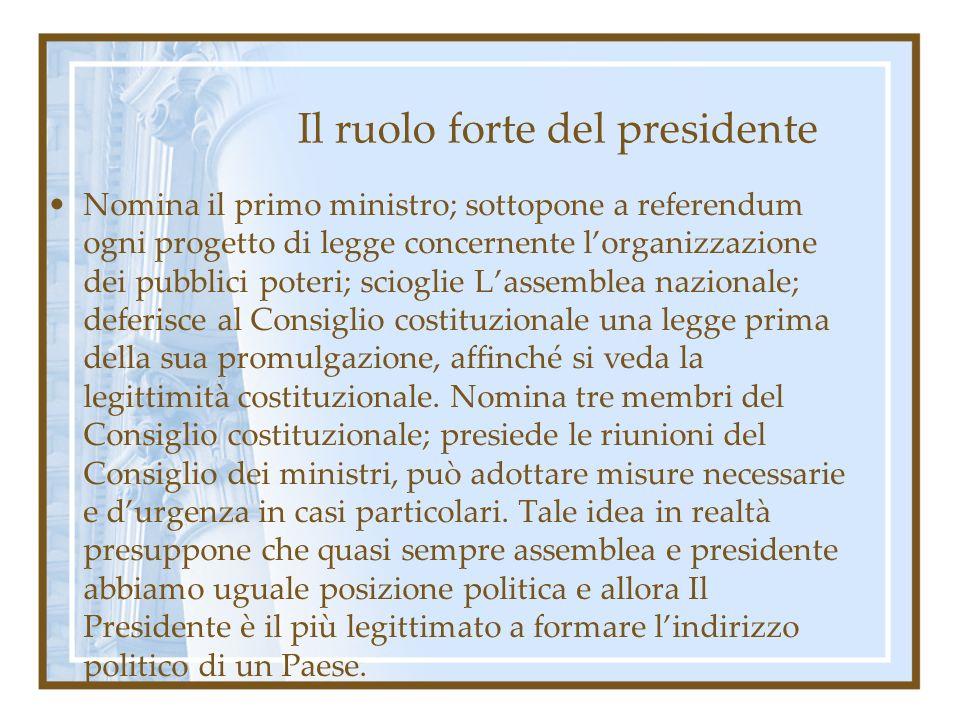 Il ruolo forte del presidente Nomina il primo ministro; sottopone a referendum ogni progetto di legge concernente lorganizzazione dei pubblici poteri;