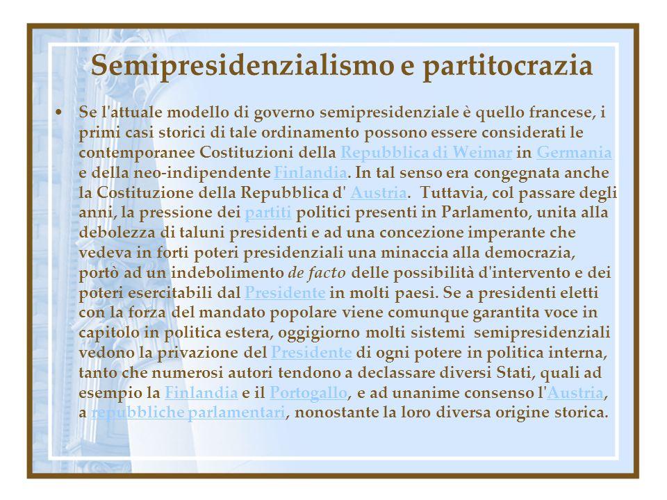 Semipresidenzialismo e partitocrazia Se l'attuale modello di governo semipresidenziale è quello francese, i primi casi storici di tale ordinamento pos