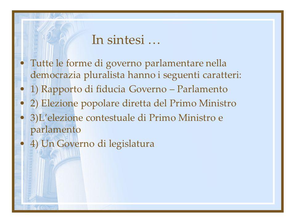 In sintesi … Tutte le forme di governo parlamentare nella democrazia pluralista hanno i seguenti caratteri: 1) Rapporto di fiducia Governo – Parlament