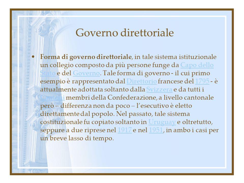 Governo direttoriale Forma di governo direttoriale, in tale sistema istituzionale un collegio composto da più persone funge da Capo dello Stato e del