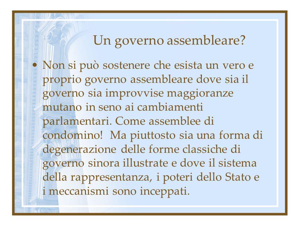 Un governo assembleare? Non si può sostenere che esista un vero e proprio governo assembleare dove sia il governo sia improvvise maggioranze mutano in