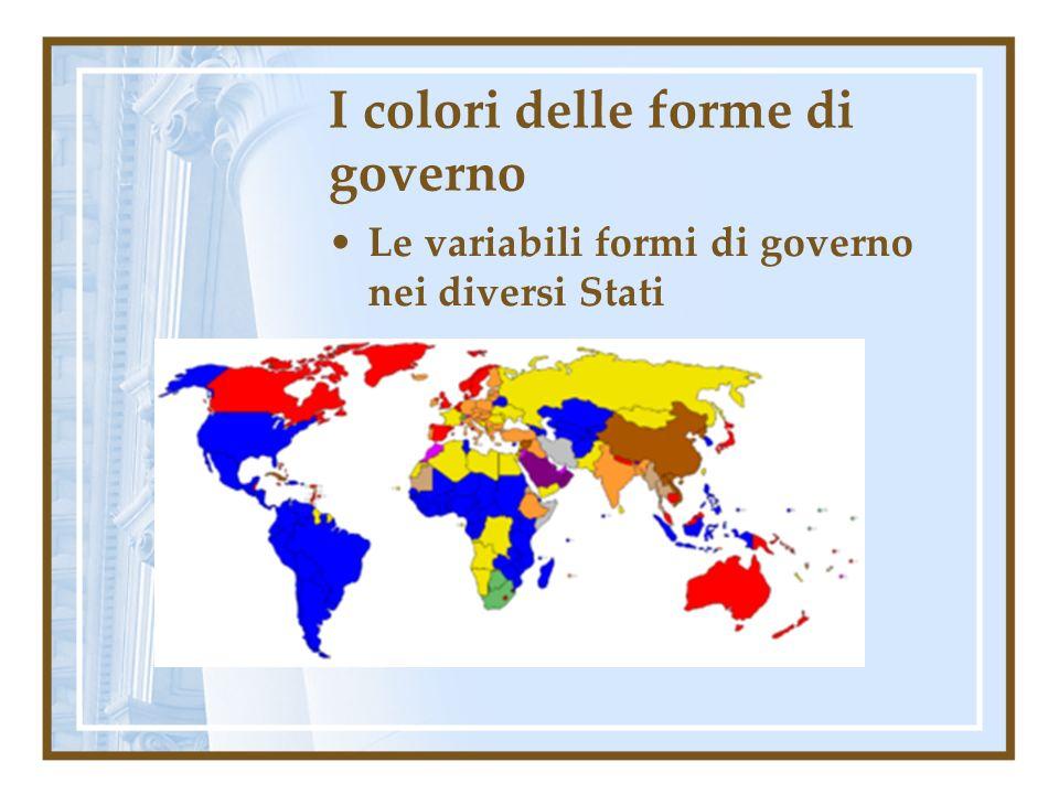I colori delle forme di governo Le variabili formi di governo nei diversi Stati