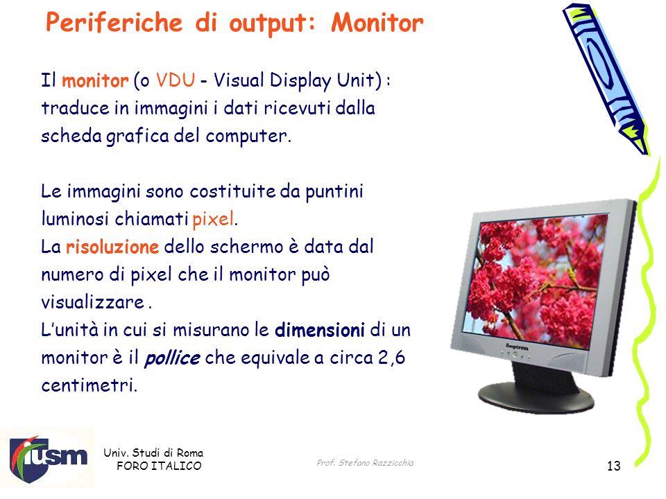 Univ. Studi di Roma FORO ITALICO Prof. Stefano Razzicchia 13 Il monitor (o VDU - Visual Display Unit) : traduce in immagini i dati ricevuti dalla sche