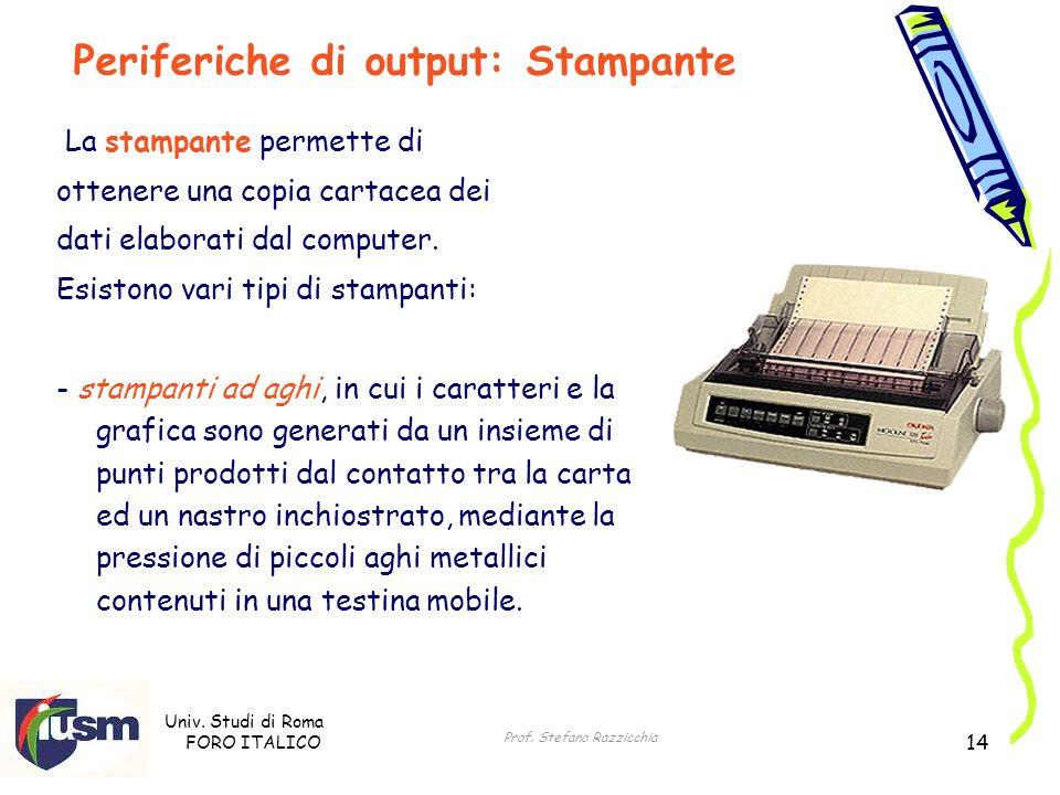 Univ. Studi di Roma FORO ITALICO Prof. Stefano Razzicchia 14 La stampante permette di ottenere una copia cartacea dei dati elaborati dal computer. Esi