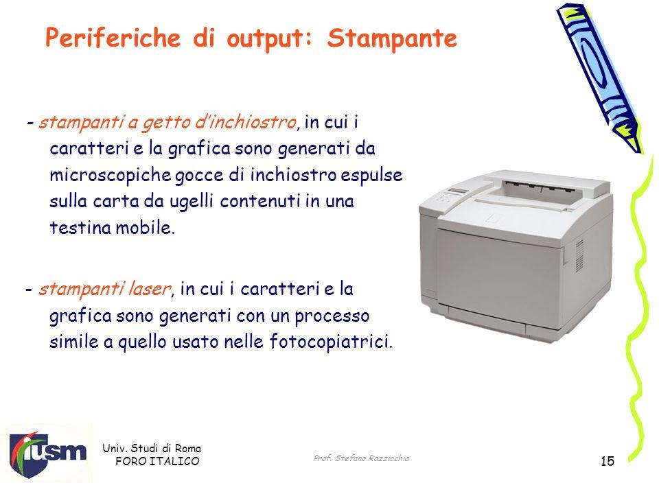 Univ. Studi di Roma FORO ITALICO Prof. Stefano Razzicchia 15 - stampanti a getto dinchiostro, in cui i caratteri e la grafica sono generati da microsc