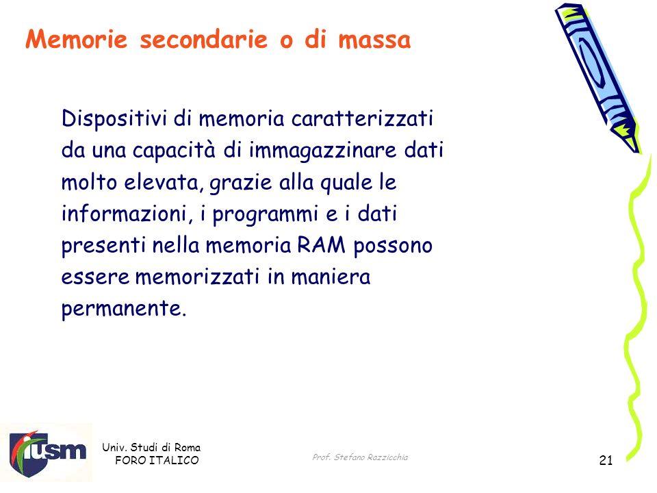 Univ. Studi di Roma FORO ITALICO Prof. Stefano Razzicchia 21 Dispositivi di memoria caratterizzati da una capacità di immagazzinare dati molto elevata