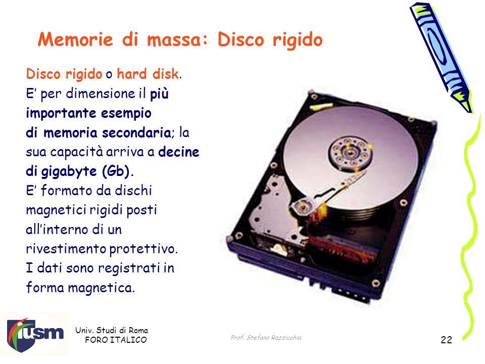Univ. Studi di Roma FORO ITALICO Prof. Stefano Razzicchia 22 Memorie di massa: Disco rigido Disco rigido o hard disk. E per dimensione il più importan