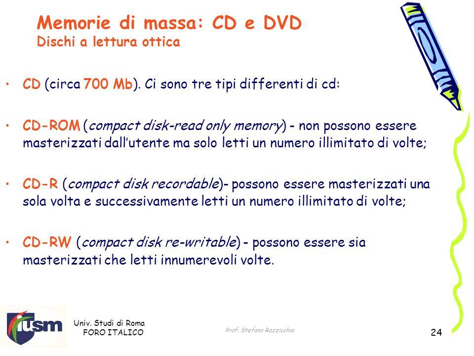 Univ. Studi di Roma FORO ITALICO Prof. Stefano Razzicchia 24 CD (circa 700 Mb). Ci sono tre tipi differenti di cd: CD-ROM (compact disk-read only memo