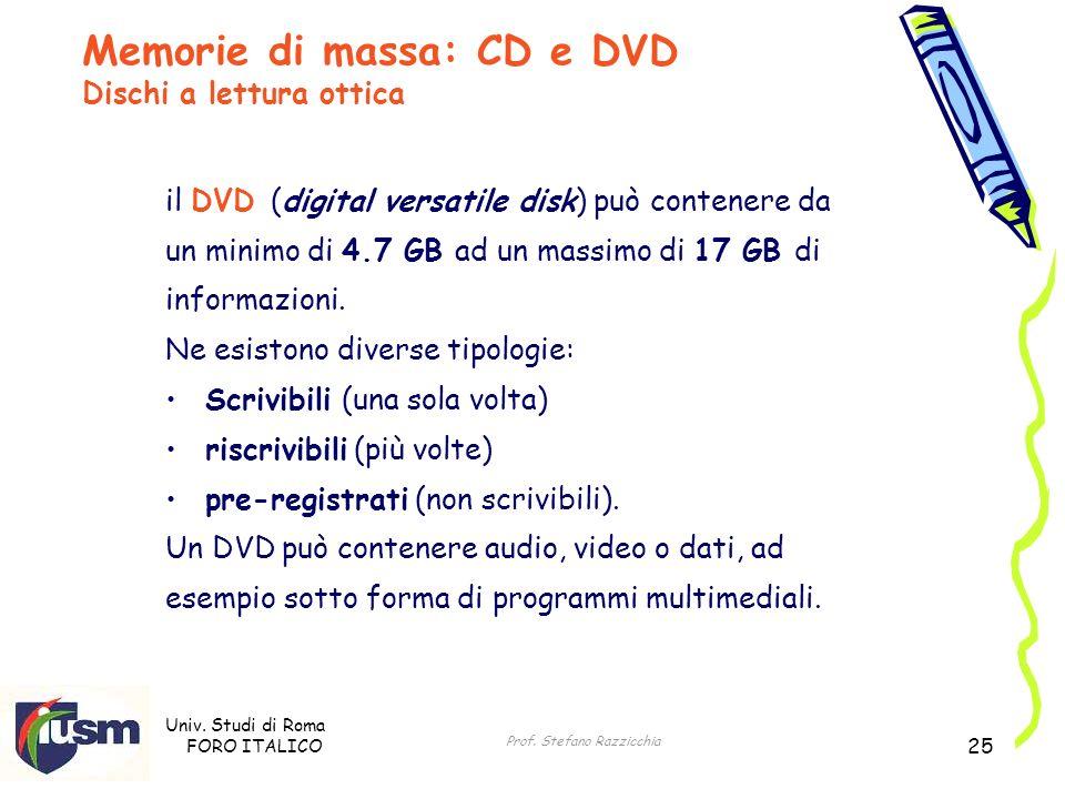Univ. Studi di Roma FORO ITALICO Prof. Stefano Razzicchia 25 il DVD (digital versatile disk) può contenere da un minimo di 4.7 GB ad un massimo di 17