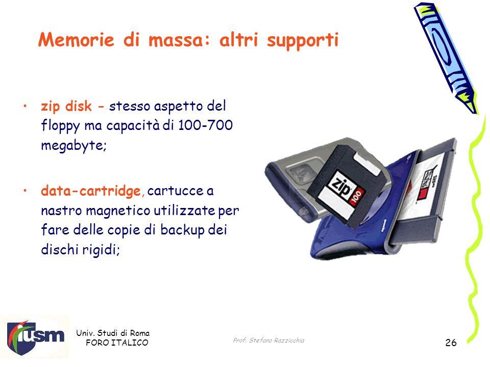Univ. Studi di Roma FORO ITALICO Prof. Stefano Razzicchia 26 zip disk - stesso aspetto del floppy ma capacità di 100-700 megabyte; data-cartridge, car