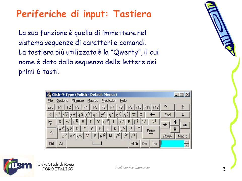 Univ. Studi di Roma FORO ITALICO Prof. Stefano Razzicchia 3 La sua funzione è quella di immettere nel sistema sequenze di caratteri e comandi. La tast