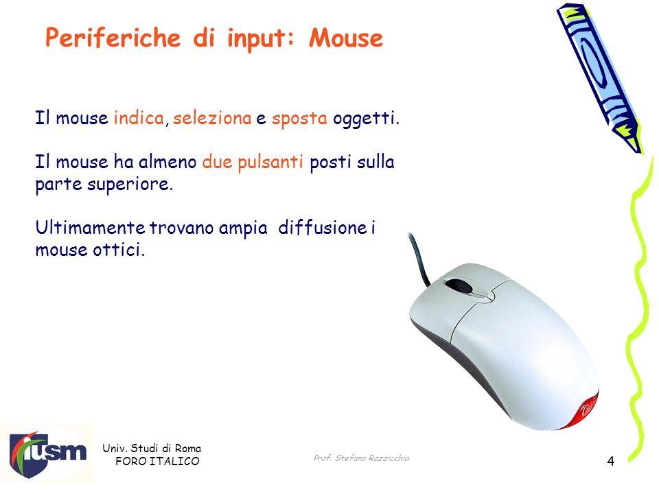 Univ. Studi di Roma FORO ITALICO Prof. Stefano Razzicchia 4 Il mouse indica, seleziona e sposta oggetti. Il mouse ha almeno due pulsanti posti sulla p