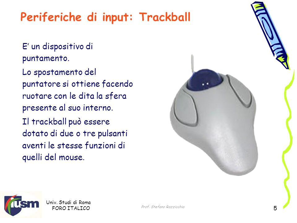 Univ. Studi di Roma FORO ITALICO Prof. Stefano Razzicchia 5 E un dispositivo di puntamento. Lo spostamento del puntatore si ottiene facendo ruotare co