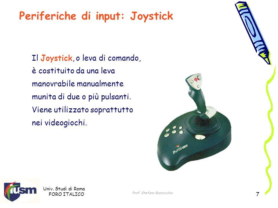 Univ. Studi di Roma FORO ITALICO Prof. Stefano Razzicchia 7 Il Joystick, o leva di comando, è costituito da una leva manovrabile manualmente munita di
