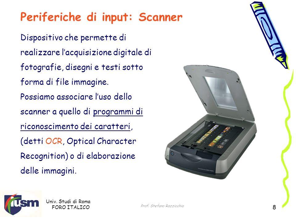 Univ. Studi di Roma FORO ITALICO Prof. Stefano Razzicchia 8 Dispositivo che permette di realizzare lacquisizione digitale di fotografie, disegni e tes