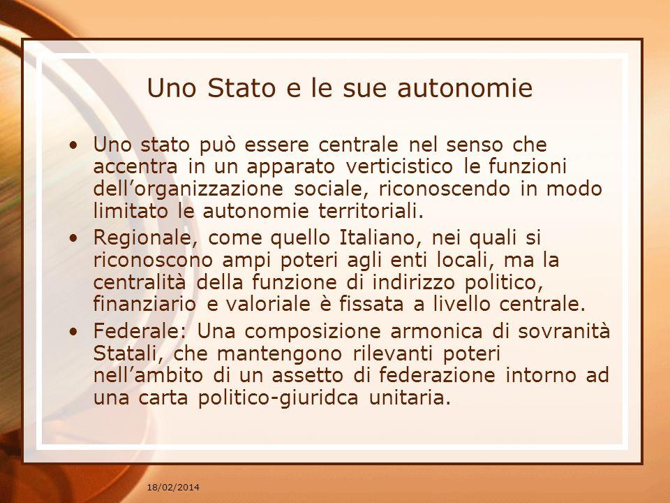 18/02/2014 Uno Stato e le sue autonomie Uno stato può essere centrale nel senso che accentra in un apparato verticistico le funzioni dellorganizzazione sociale, riconoscendo in modo limitato le autonomie territoriali.