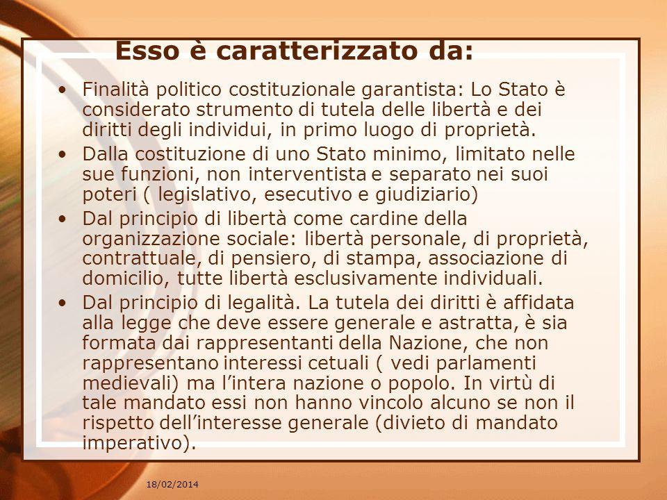18/02/2014 Esso è caratterizzato da: Finalità politico costituzionale garantista: Lo Stato è considerato strumento di tutela delle libertà e dei diritti degli individui, in primo luogo di proprietà.