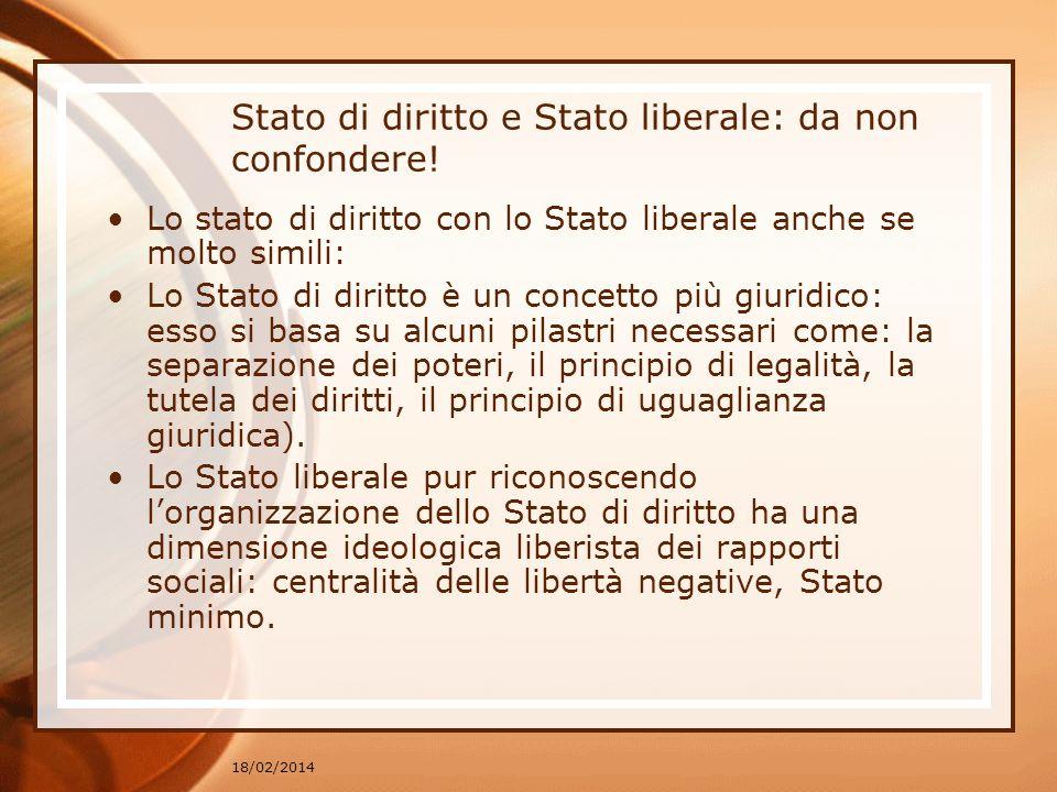 18/02/2014 Stato di diritto e Stato liberale: da non confondere.