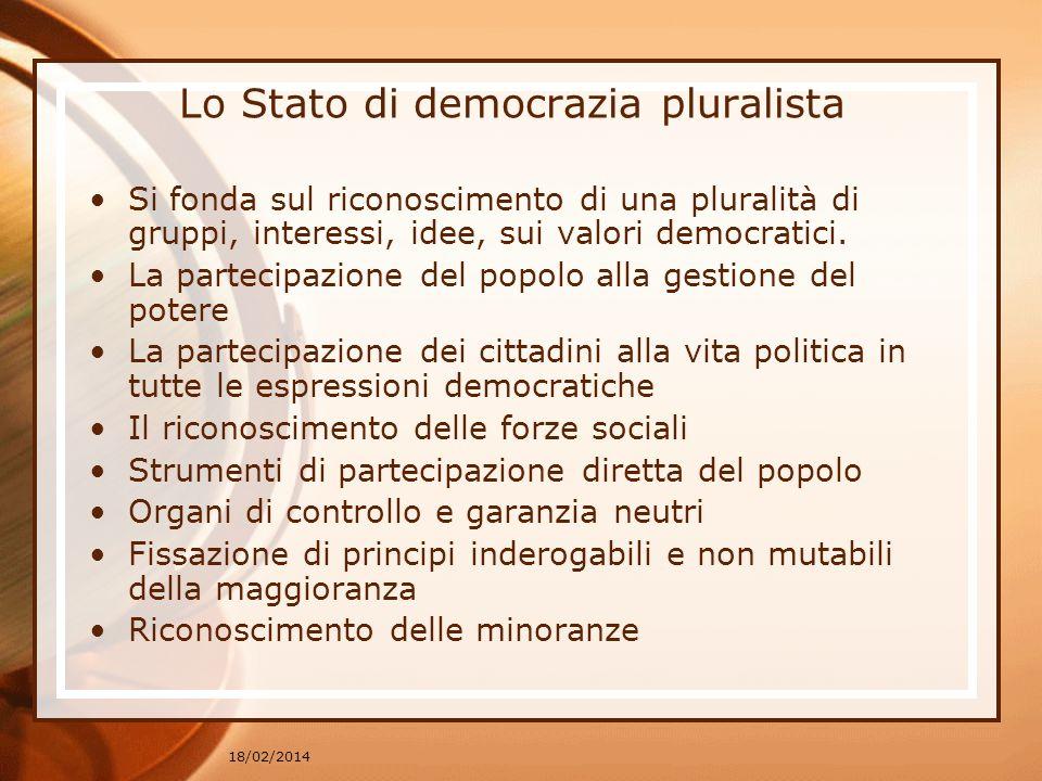 18/02/2014 Lo Stato di democrazia pluralista Si fonda sul riconoscimento di una pluralità di gruppi, interessi, idee, sui valori democratici.