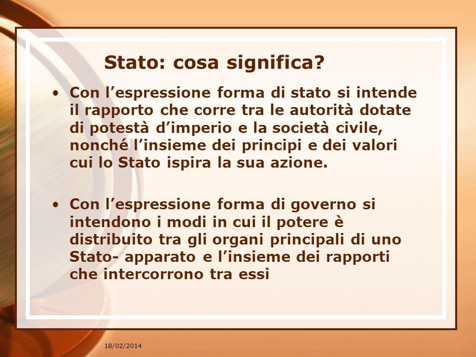 18/02/2014 Lo Stato come ordinamento e le sue evoluzioni.