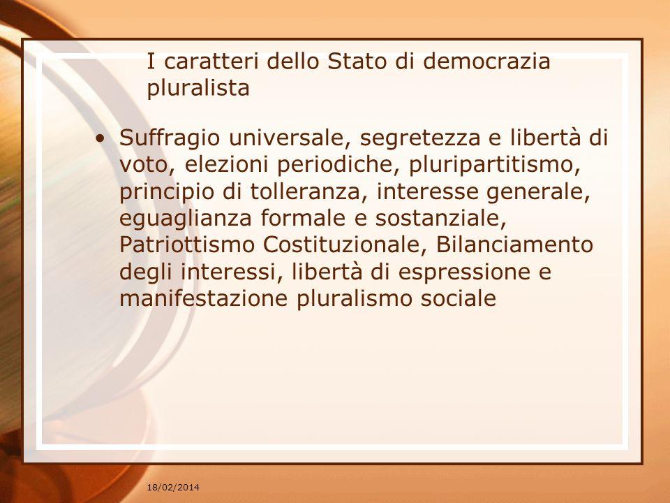 18/02/2014 I caratteri dello Stato di democrazia pluralista Suffragio universale, segretezza e libertà di voto, elezioni periodiche, pluripartitismo,