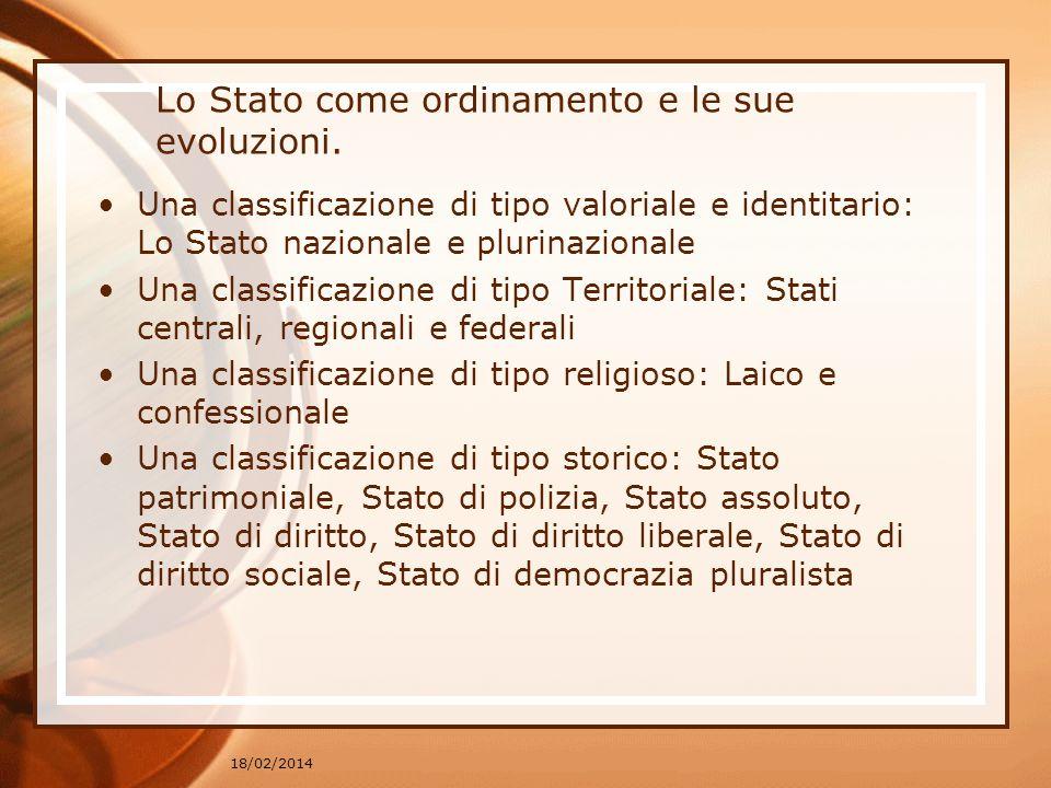18/02/2014 Lo Stato come ordinamento e le sue evoluzioni. Una classificazione di tipo valoriale e identitario: Lo Stato nazionale e plurinazionale Una