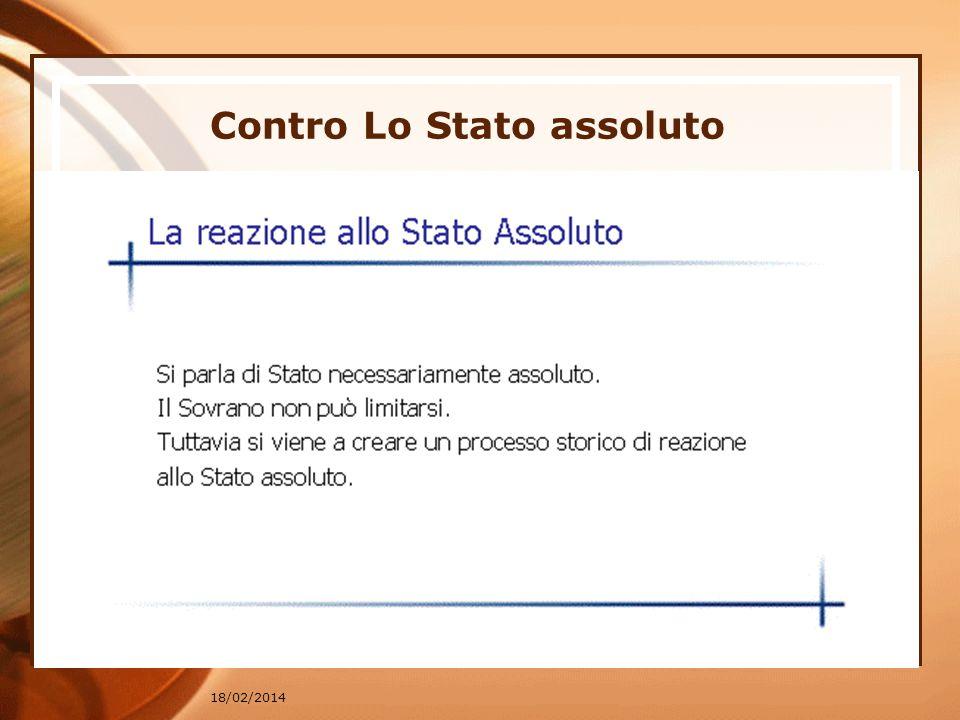 18/02/2014 Contro Lo Stato assoluto