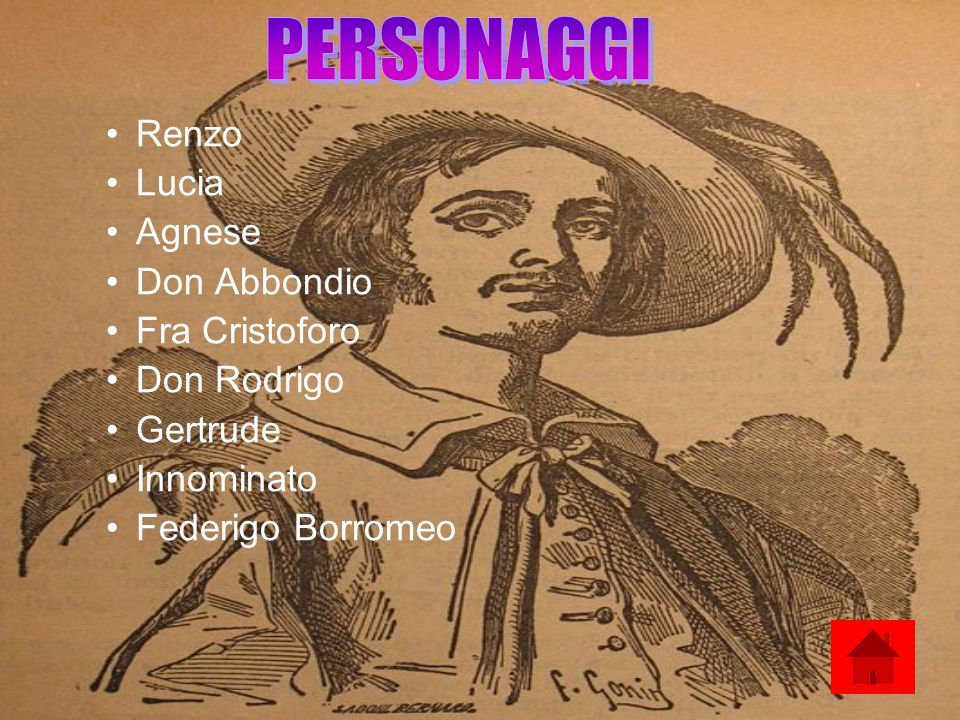 Renzo Lucia Agnese Don Abbondio Fra Cristoforo Don Rodrigo Gertrude Innominato Federigo Borromeo