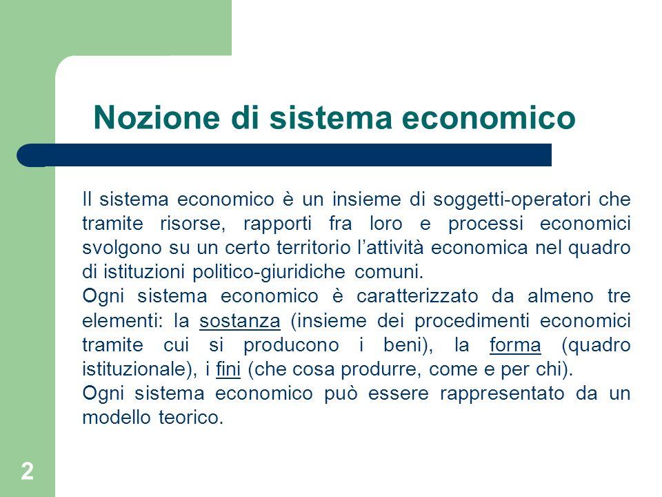 2 Il sistema economico è un insieme di soggetti-operatori che tramite risorse, rapporti fra loro e processi economici svolgono su un certo territorio