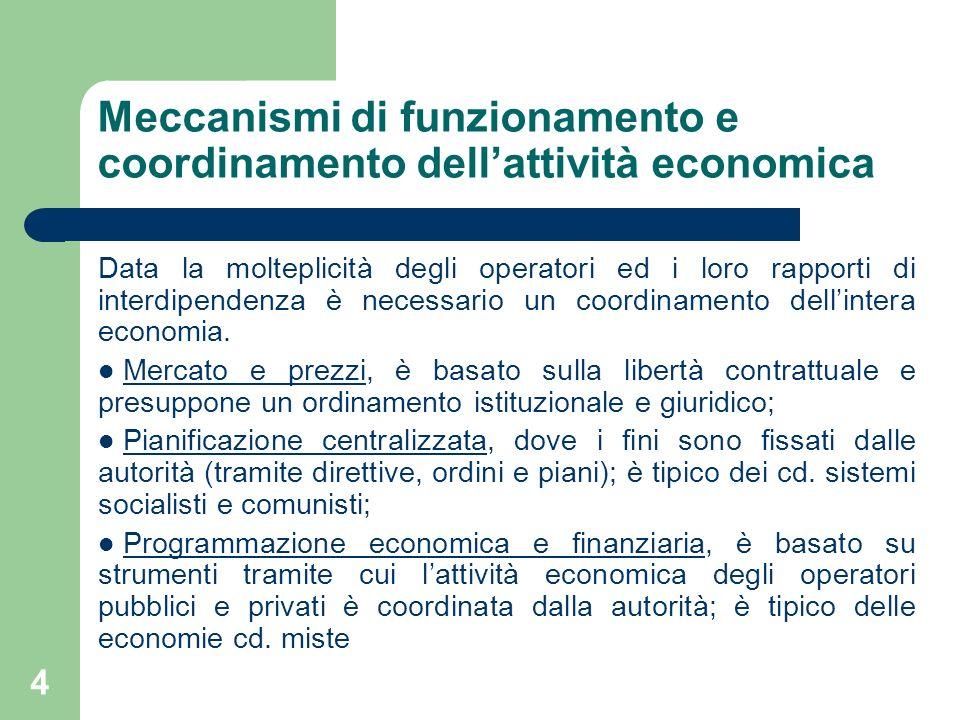 4 Meccanismi di funzionamento e coordinamento dellattività economica Data la molteplicità degli operatori ed i loro rapporti di interdipendenza è nece