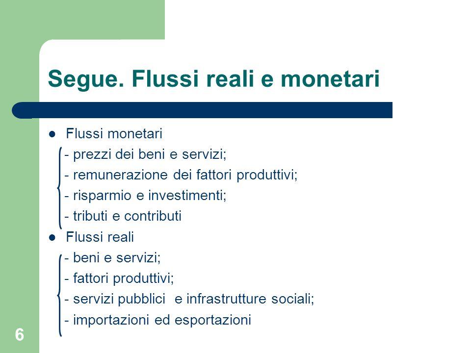 6 Segue. Flussi reali e monetari Flussi monetari - prezzi dei beni e servizi; - remunerazione dei fattori produttivi; - risparmio e investimenti; - tr