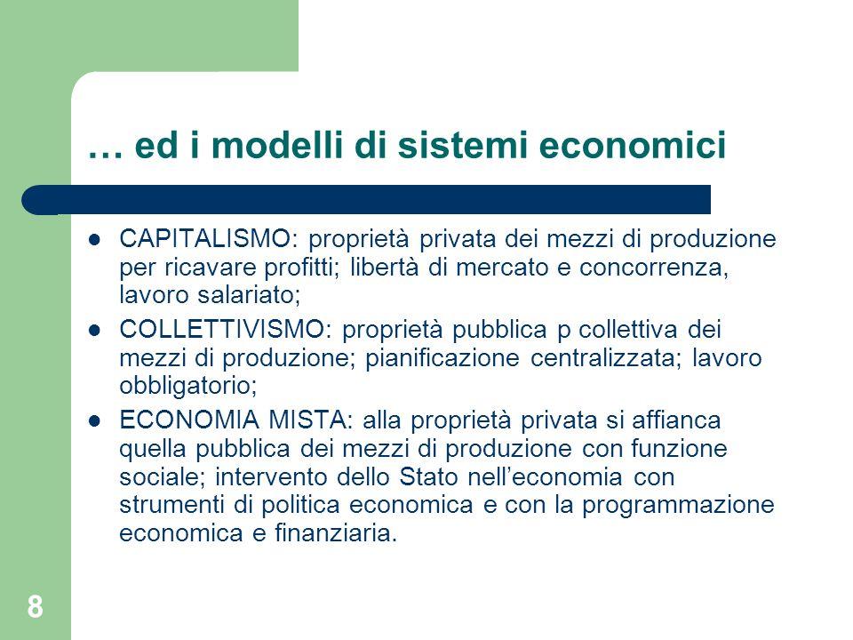 8 … ed i modelli di sistemi economici CAPITALISMO: proprietà privata dei mezzi di produzione per ricavare profitti; libertà di mercato e concorrenza,