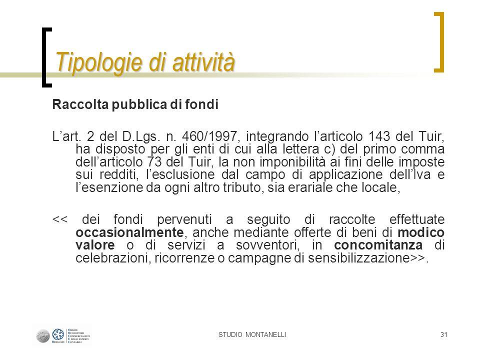 STUDIO MONTANELLI31 Tipologie di attività Raccolta pubblica di fondi Lart.