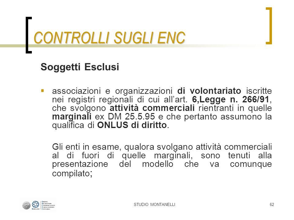 STUDIO MONTANELLI62 CONTROLLI SUGLI ENC Soggetti Esclusi associazioni e organizzazioni di volontariato iscritte nei registri regionali di cui allart.
