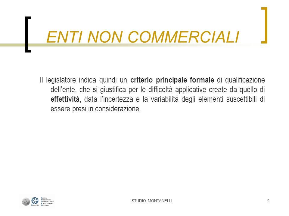 STUDIO MONTANELLI20 Tipologie di attività Attività commerciali: sempre soggette ad obblighi contabili; da contabilizzare separatamente dalle attività istituzionali.