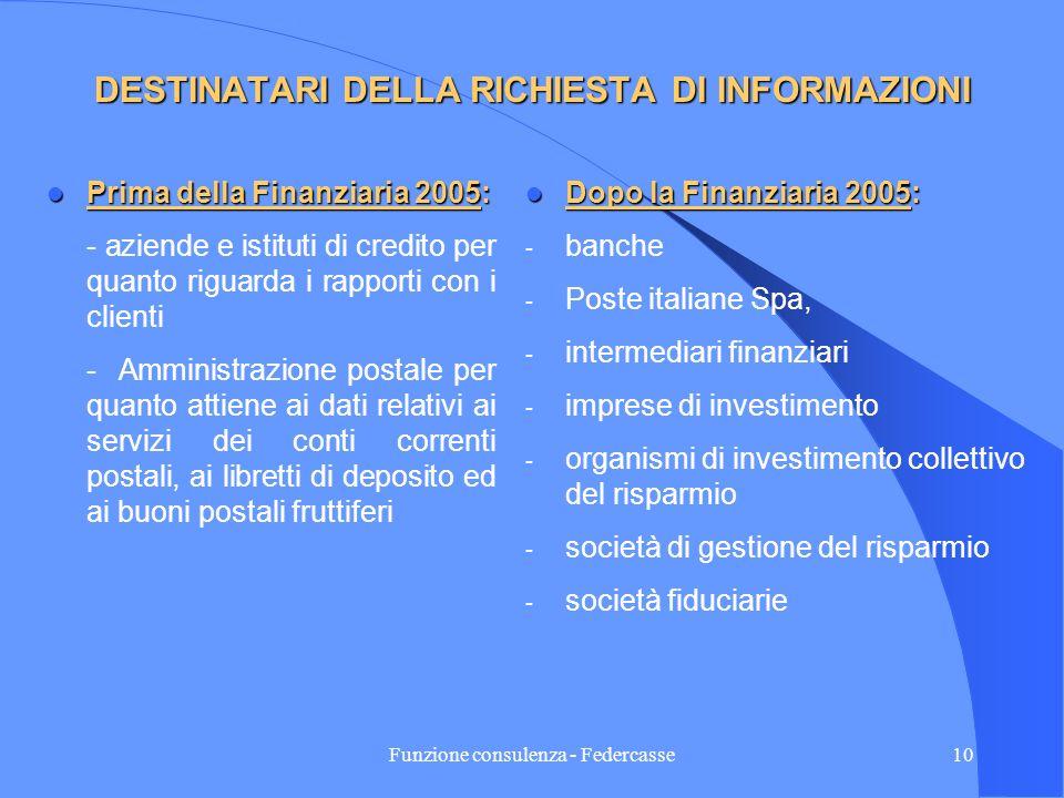 Funzione consulenza - Federcasse9 OGGETTO DELLA RICHIESTA DI INFORMAZIONI Prima della Finanziaria 2005 Prima della Finanziaria 2005 - copia dei conti