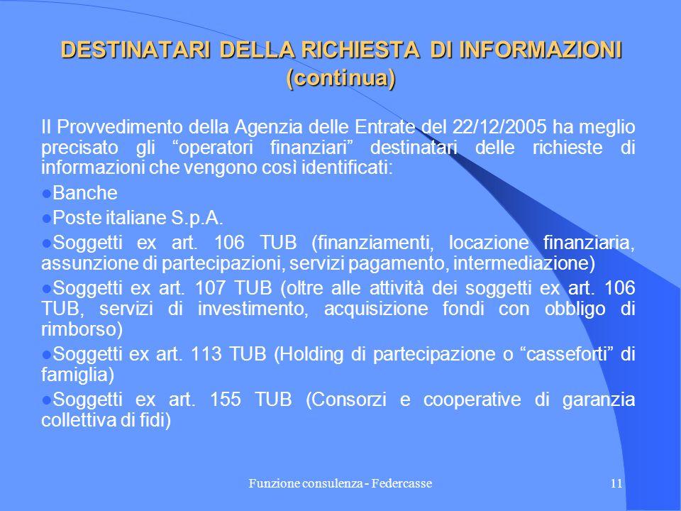Funzione consulenza - Federcasse10 DESTINATARI DELLA RICHIESTA DI INFORMAZIONI Prima della Finanziaria 2005: Prima della Finanziaria 2005: - aziende e