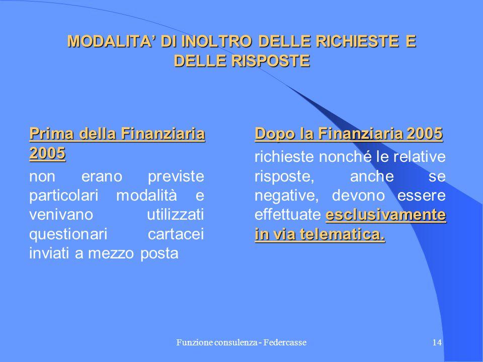 Funzione consulenza - Federcasse13 DESTINATARI DELLA RICHIESTA DI INFORMAZIONI (continua) Prima della Finanziaria 2005: La richiesta deve essere indir