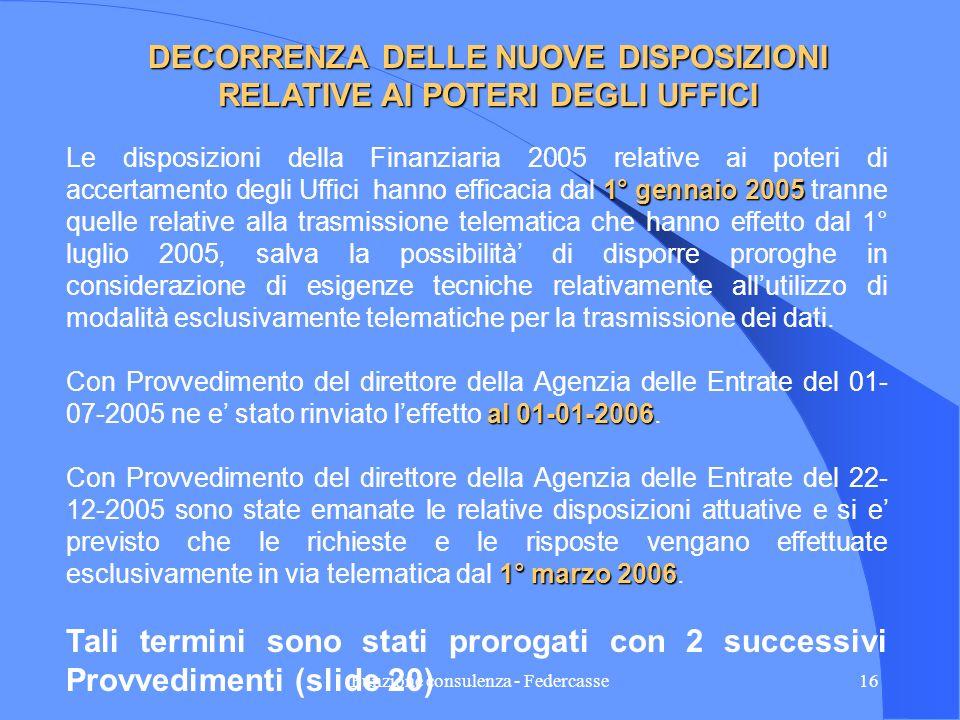 Funzione consulenza - Federcasse15 TERMINI PER LE RISPOSTE Prima della Finanziaria 2005 il termine fissato dallUfficio per la risposta non poteva esse