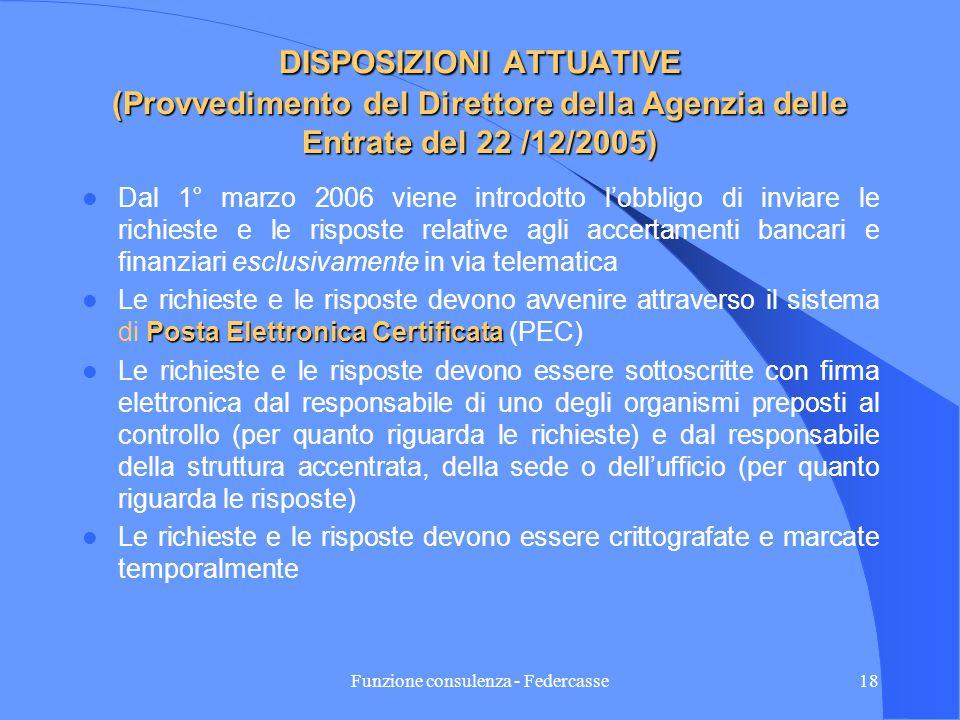 Funzione consulenza - Federcasse17 PORTATA APPLICATIVA Sotto il profilo procedurale le nuove norme relative ai poteri di accertamento degli uffici in