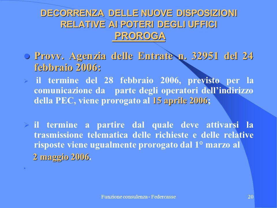 Funzione consulenza - Federcasse19 DISPOSIZIONI ATTUATIVE (continua) (Provvedimento del Direttore della Agenzia delle Entrate del 22 /12/2005) Gli ope