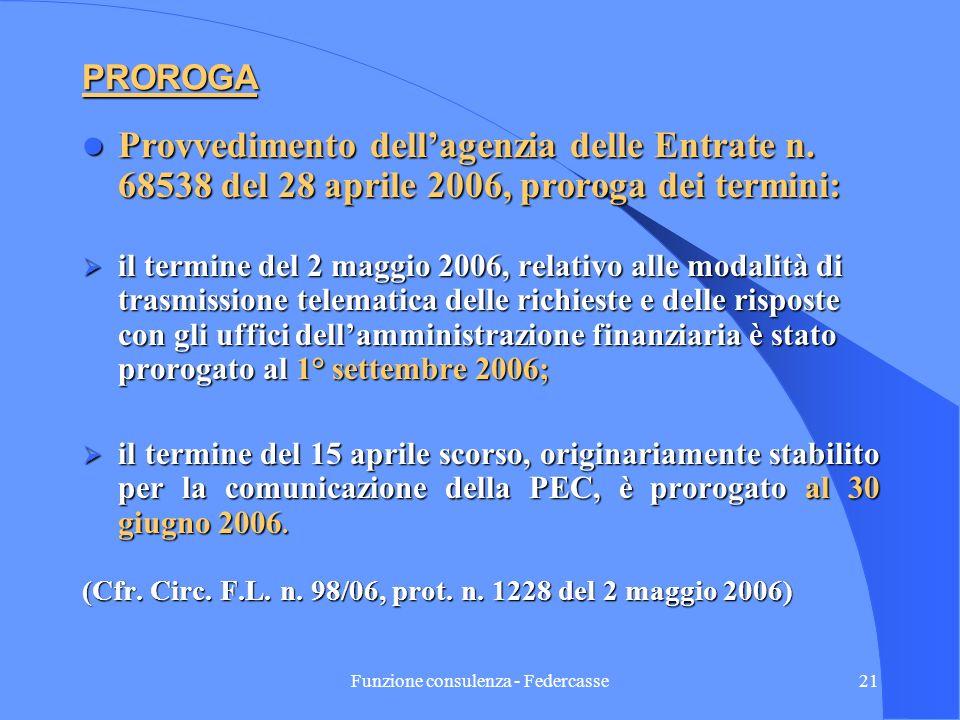 Funzione consulenza - Federcasse20 DECORRENZA DELLE NUOVE DISPOSIZIONI RELATIVE AI POTERI DEGLI UFFICI PROROGA Provv.