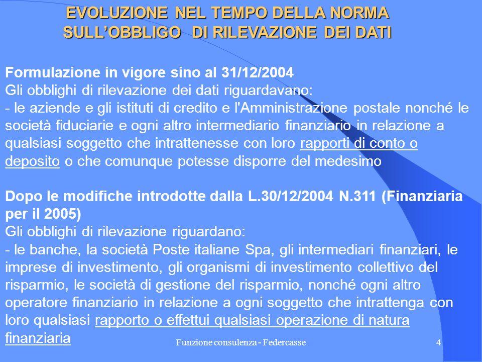 Funzione consulenza - Federcasse3 OBBLIGHI DI RILEVAZIONE DEI DATI DA PARTE DEGLI OPERATORI FINANZIARI ( Art. 7, comma 6 del DPR 29/09/1973 N. 605) Le