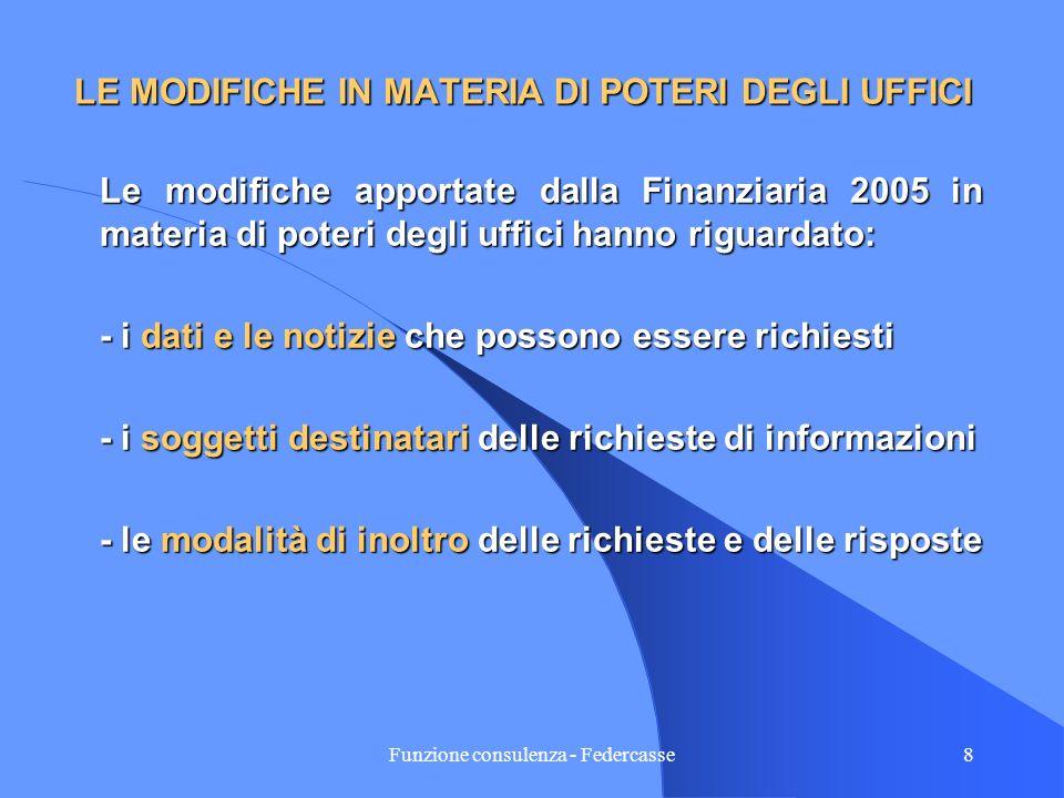 Funzione consulenza - Federcasse7 LA PORTATA DEI POTERI DI INDAGINE DELLA AMMINISTRAZIOE FINANZIARIA La L.30/12/2004 N. 311rapporto e di operazione La