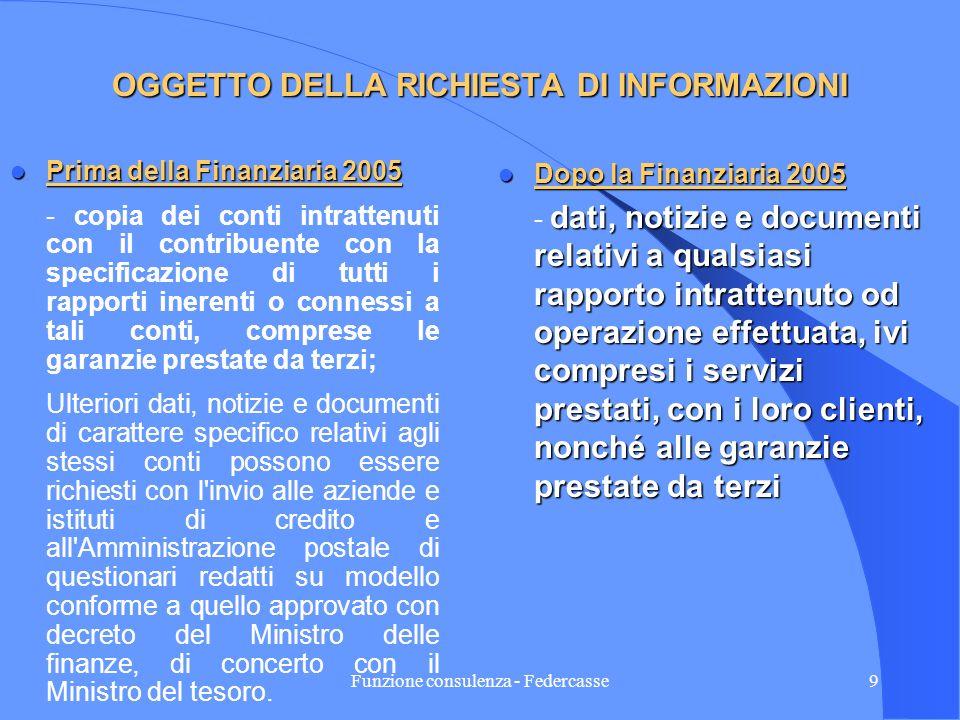 Funzione consulenza - Federcasse8 LE MODIFICHE IN MATERIA DI POTERI DEGLI UFFICI Le modifiche apportate dalla Finanziaria 2005 in materia di poteri de