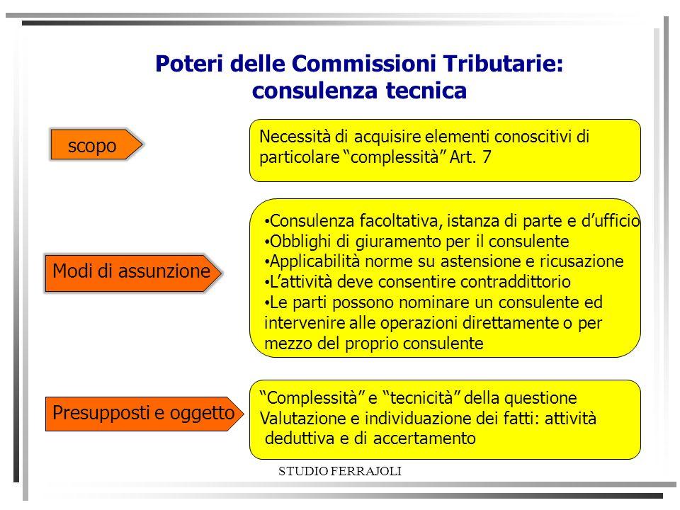 Poteri delle Commissioni Tributarie: consulenza tecnica scopo Necessità di acquisire elementi conoscitivi di particolare complessità Art. 7 Modi di as
