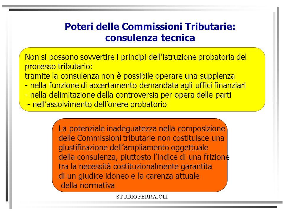 STUDIO FERRAJOLI Poteri delle Commissioni Tributarie: consulenza tecnica Non si possono sovvertire i principi dellistruzione probatoria del processo t