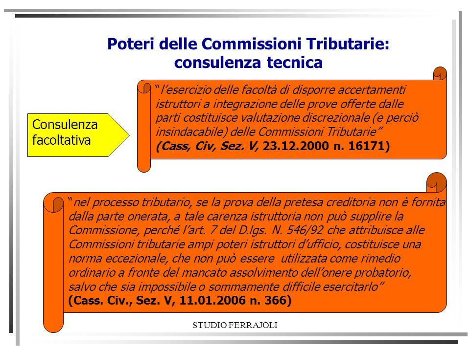 STUDIO FERRAJOLI Poteri delle Commissioni Tributarie: consulenza tecnica Consulenza facoltativa lesercizio delle facoltà di disporre accertamenti istr