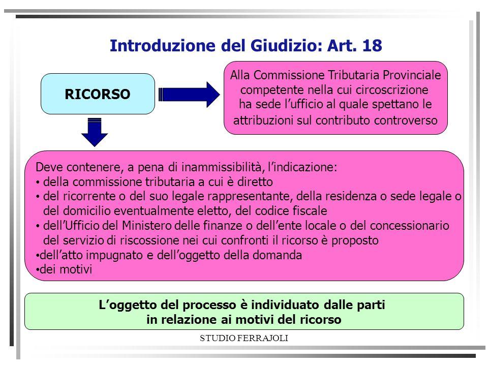 STUDIO FERRAJOLI Introduzione del Giudizio: Art. 18 RICORSO Alla Commissione Tributaria Provinciale competente nella cui circoscrizione ha sede luffic